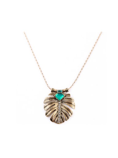 Rretro Alloy Feather Shaped Necklace