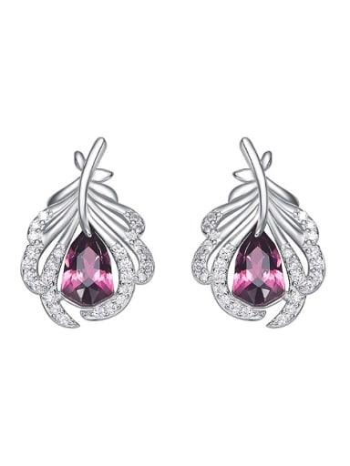 Fashion 925 Silver Swarovski Crystals Feather Stud Earrings