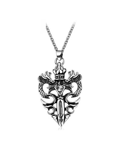 Double Dragon Shaped Stainless Steel Necklace
