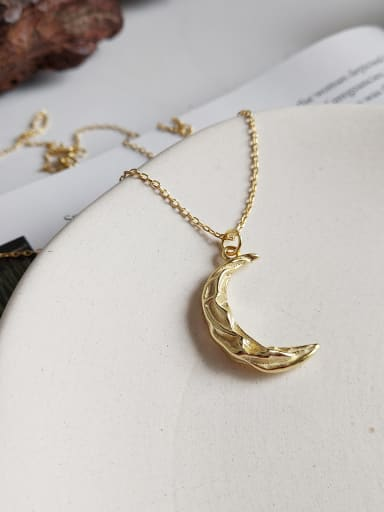 925 Sterling Silver With 18k Gold Plated Personality Moon Necklaces