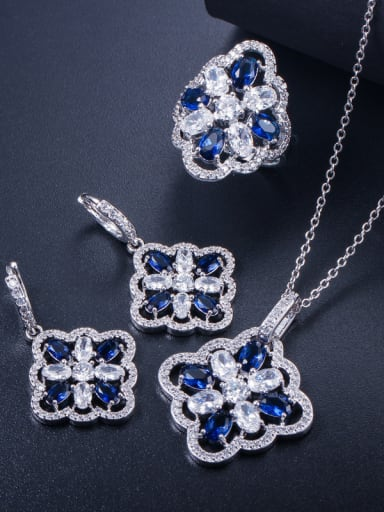Copper inlaid AAA zircon colored earrings necklace ring 3 pieces jewelry set