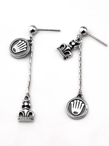 Vintage Sterling Silver With Asymmetry Round Crown  Tassel Earrings