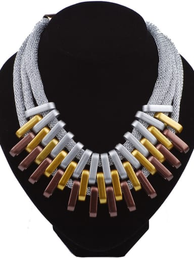 Exaggerated Three Layers Alloy Plating Necklace