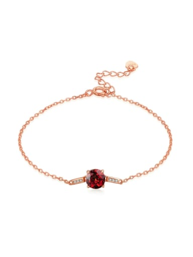 Natural Small Red Garnet Micro Pave Zircon Women Bracelet