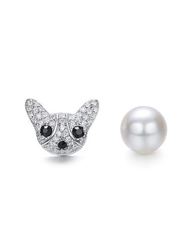 Fashion Asymmetrical Little Dog Zirconias Artificial Pearl 925 Silver Stud Earrings