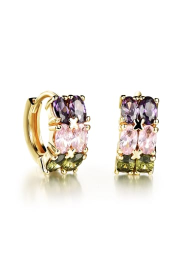 Fashion Oval Colorful Zircon Women Earrings