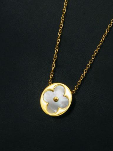 Titanium Round Flower Pattern Simple Style Women Necklace