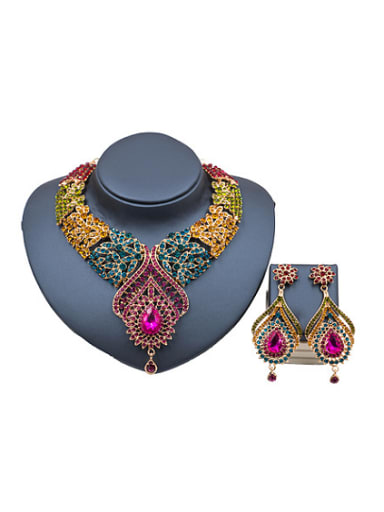 Glass Rhinestones Exaggerated Two Pieces Jewelry Set