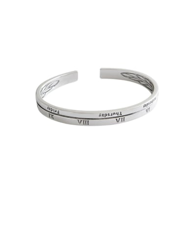 925 Sterling Silver With Platinum Plated Vintage Monogrammed Free Size Bangles