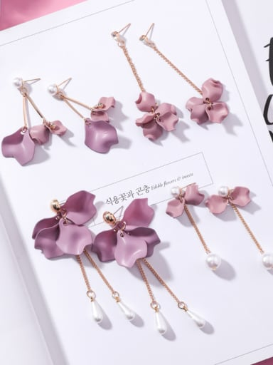 Alloy With Gold Plated Romantic Flower Drop Earrings