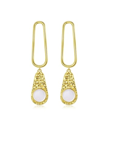925 Sterling Silver With Gold Plated Personality Water Drop Drop Earrings