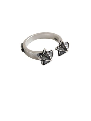 925 Sterling Silver With Antique Silver Plated Vintage Pentagram  Free Size  Rings