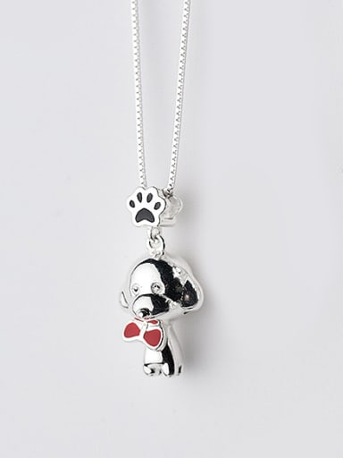 Cute Dog Shaped Red Enamel S925 Silver Necklace