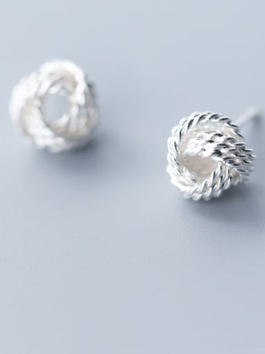 925 Sterling Silver With  Cute  Multi-layer twist winding ball Stud Earrings