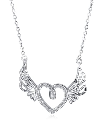 Copper With White Gold Plated Fashion Heart with wing Necklaces