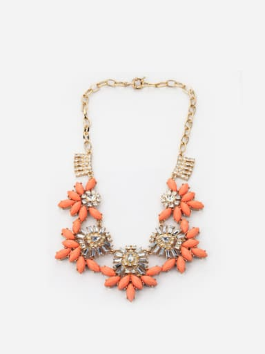 Fashion Artificial Stones Flower Shaped Alloy Necklace
