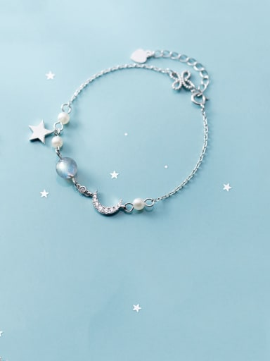 925 Sterling Silver With Platinum Plated Trendy Moon Bracelets
