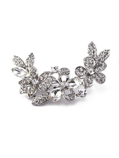 Platinum Plated Crystal Brooch