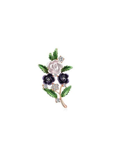 Purple Rose Gold Plated Flower Shaped Resin Brooch