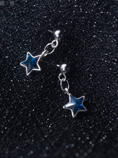 Sterling silver minimalist fashion blue star earrings