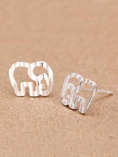 Matte Tiny Hollow Elephant stud Earring