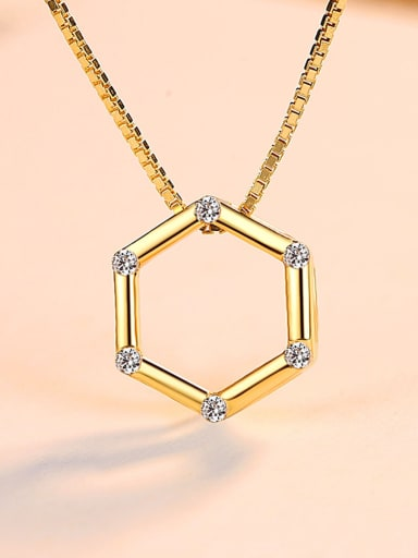 Sterling Silver with 3A zircon hexagonal Necklace