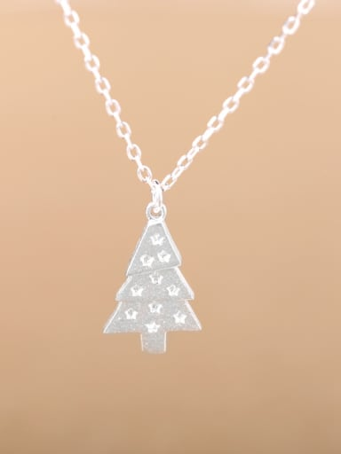 Tiny Christmas Tree Silver Necklace