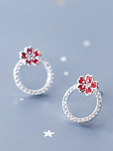 925 Sterling Silver With Silver Plated Simplistic Red Plum Blossom Stud Earrings