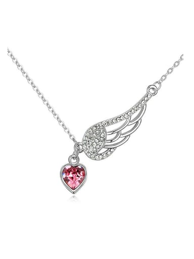 Fashion Angel Wing Heart Swarovski Crystals Alloy Necklace