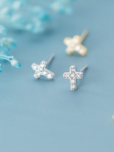 925 Sterling Silver With Platinum Plated Simplistic Cross Stud Earrings