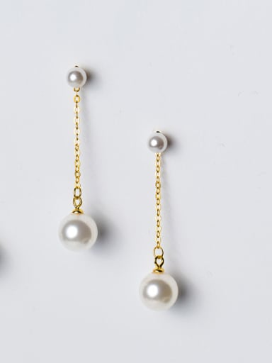 All-match Gold Plated Artificial Pearl Silver Drop Earrings