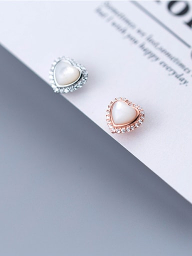 Sterling silver impregnated zircon cat's eye stone Stud Earrings
