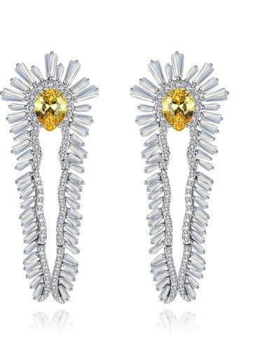 Copper With  Cubic Zirconia Luxury Flower Stud Earrings