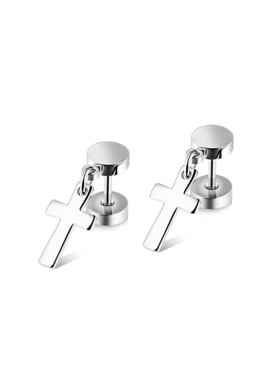 Simple Dumbbell Cross Titanium Smooth Stud Earrings