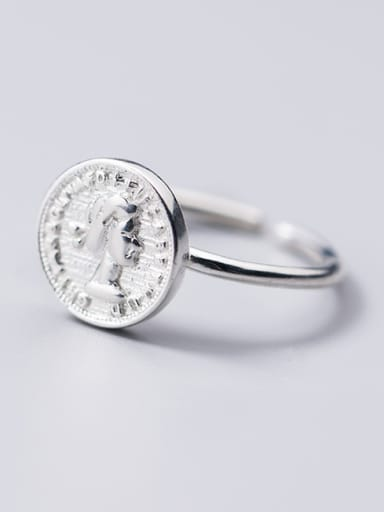 925 Sterling Silver With Platinum Plated Trendy Face Rings