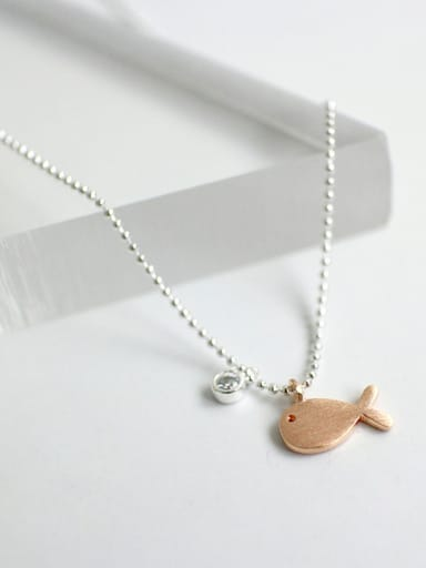 Personalized Rose Gold Plated Little Fish Pendant Silver Necklace