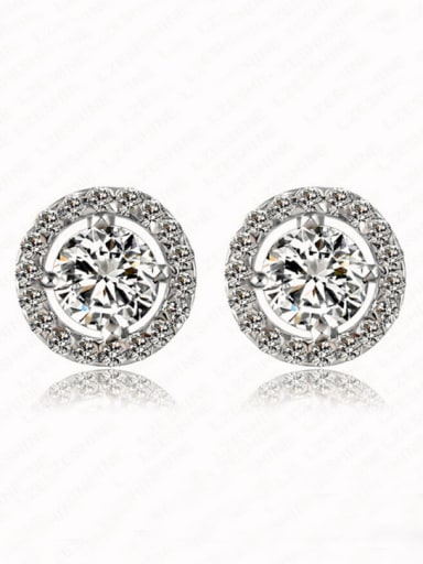 Europe And The United States  Anti-allergic Disc Zircon Cluster earring