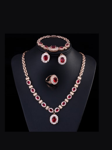 Retro Zircon Four Pieces Jewelry Set