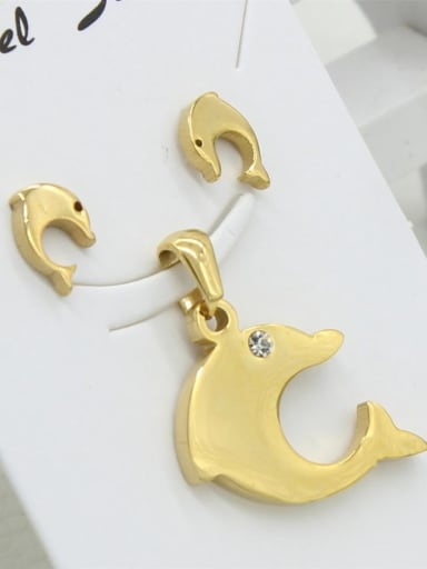 Gold Plated Dolphin Shaped Two Pieces Set