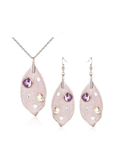 Delicate Leaf Shaped Rhinestone Two Pieces Jewelry Set