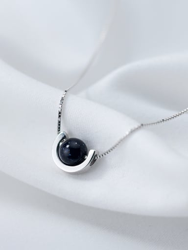 Fresh Black Round Shaped Stone S925 Silver Necklace