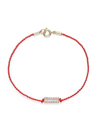 Simple Cubic Shiny Zirconias Red Rope Copper Bracelet