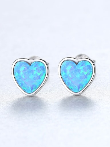 Sterling Silver Compact heart shaped opal earring