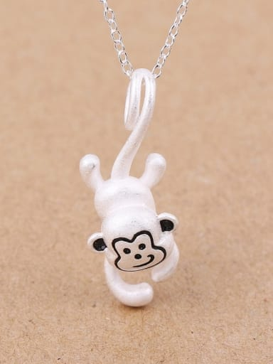 Lovely Jumping Monkey Silver Pendant
