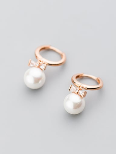 Trendy Rose Gold Plated Bowknot Shaped Pearl Clip Earrings