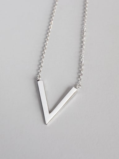 925 Sterling Silver With Platinum Plated Simplistic Geometric  V Necklaces