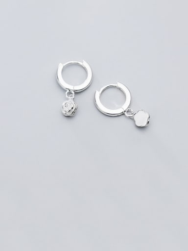 925 Sterling Silver With Platinum Plated Simplistic Flower Clip On Earrings