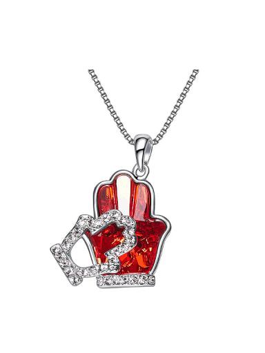 Personalized Tiny Gloves Swarovski Crystal Necklace
