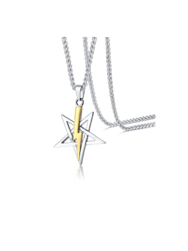 Stainless Steel With Two-color plating  Simplistic Star Lightning Necklaces