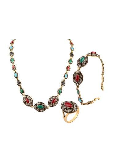 Retro style Marquise Resin stones Alloy Three Pieces Jewelry Set